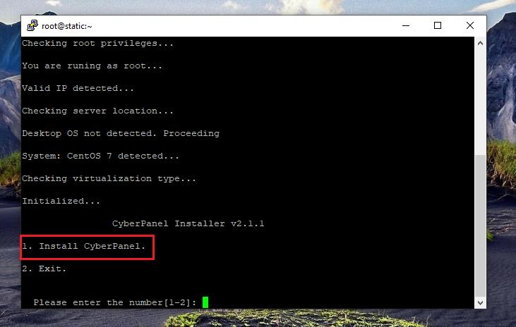 نصب کنترل پنل CyberPanel، انتخاب نوع کنترل پنل