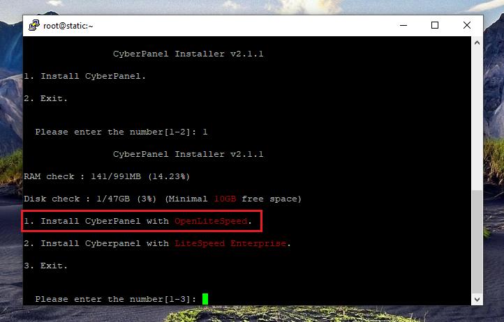 نصب کنترل پنل CyberPanel، انتخاب نوع وب سرور