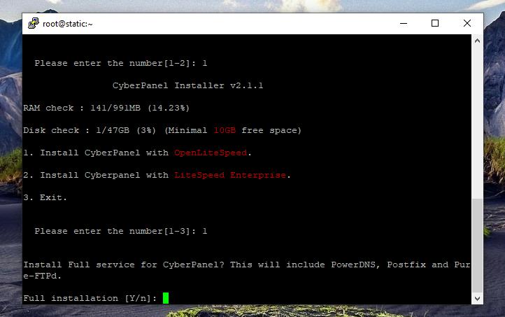 نصب کنترل پنل CyberPanel، نصب کامل!