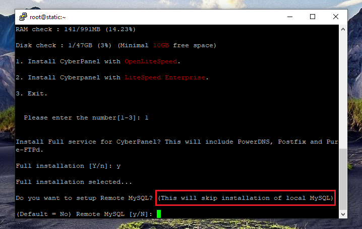 نصب کنترل پنل CyberPanel، نصب ریموت MySQL