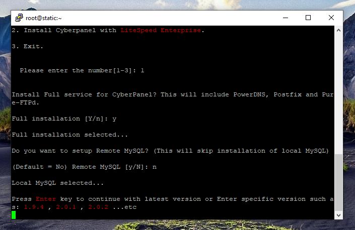 نصب کنترل پنل CyberPanel،  اینتر را بزنید!