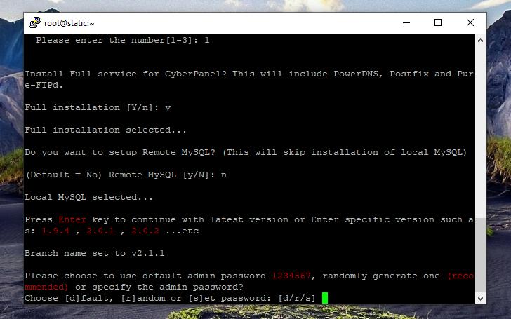 نصب کنترل پنل CyberPanel، انتخاب پسوورد